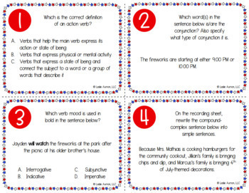 4th of July Grammar Task Cards