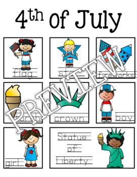 4th of July Guided Writing Pattern Prompts for Emerging Writers