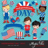 4th of July, Independence Day Boys Clipart by Mujka