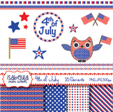 4th of July Independence Day Clipart Patriotic Owl American Flag Digital Papers