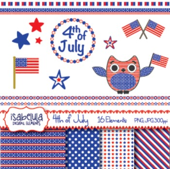 4th of July Independence Day Clipart Patriotic Owl America