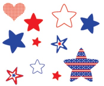4th of July Independence Day Clipart Patriotic Owls, American Flag, Hearts Stars