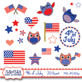 4th of July Independence Day Clipart Patriotic Owls, Ameri
