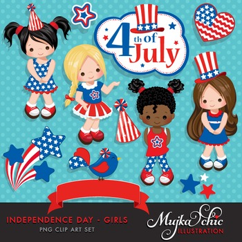 4th of July, Independence Day Girls Clipart by MUJKA