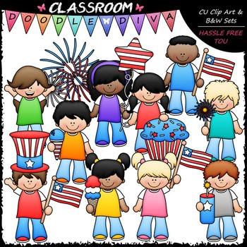 4th of July Kids Clip Art - Patriotic Kids Clip Art & B&W Set