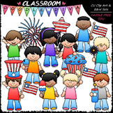 4th of July Kids Clip Art - Patriotic Kids Clip Art & B&W Set