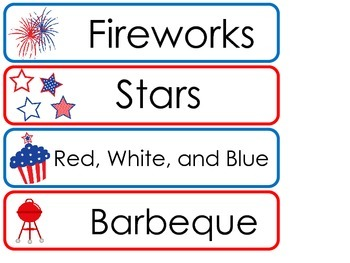 4th of July  Word Wall Weekly Theme Posters.