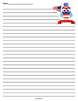 4th of July Lined Paper