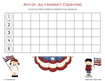 4th of July Magnet Counting Sheets