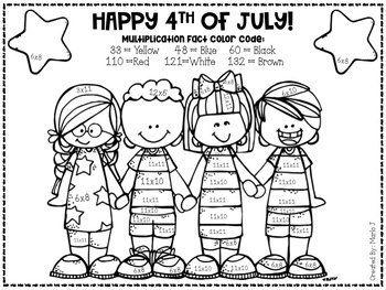 4th of July Mixed Multiplication Color-By-Number