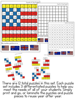 4th of July Mystery Picture Hundred's Chart Puzzles | Independence Day Puzzles