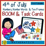 4th of July Numbers, Number Words & Ten Frames BOOM & Task Cards Match Game