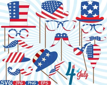4th of July Party Photo Booth Prop props svg clip art Deco