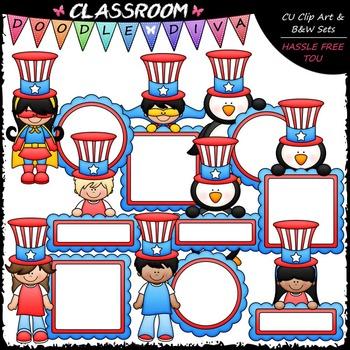 4th of July Patriotic Clip Art & B&W Bundle (4 Sets)