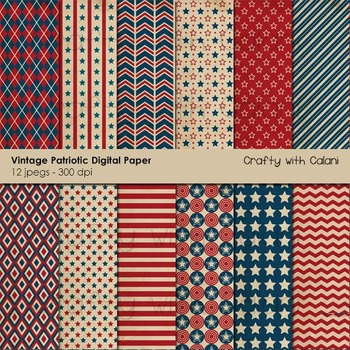 4th of July Patriotic Digital Paper and Background Set - 12 high res background