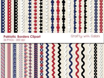 4th of July Patriotic Themed Digital Border Clip Art Set