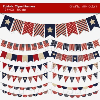4th of July Patriotic Themed Vibrant Pennant Bunting Clip Art