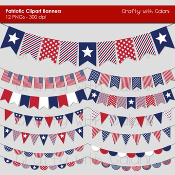 4th of July Patriotic Themed VintagePennant Bunting Clip Art