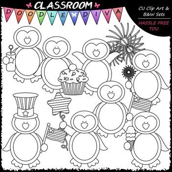 4th of July Penguins Clip Art - Patriotic Penguins Clip Art & B&W Set