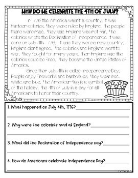 4th of July Reading Passage with Comprehension Questions