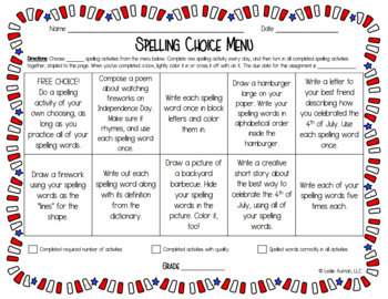EDITABLE 4th of July Spelling Choice Board