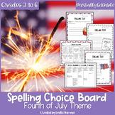 4th of July Spelling Choice Menu   EDITABLE   Summer Schoo