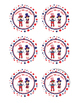 4th of July Stickers/ Favor Tags / Cupcake Toppers