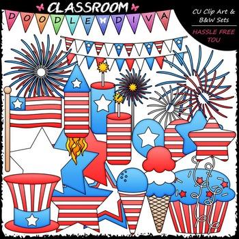 4th of July Stuff Clip Art - Patriotic Clip Art & B&W Set