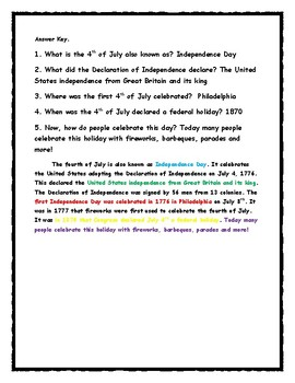 4th of July -Text Evidence