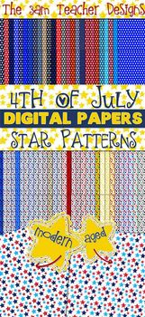 4th of July Themed Digital Background Papers - Stars