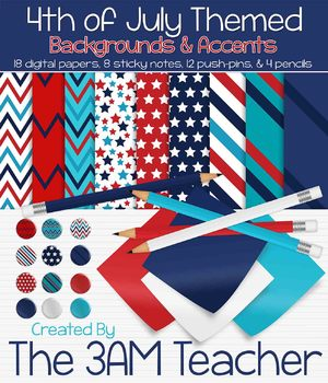4th of July Themed Papers, Sticky Notes, Pencils, and Push Pins!