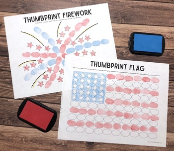 4th of July Thumbprint ART freebie + articulation sample pages