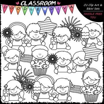 4th of July Topper Kids Clip Art - Patriotic Toppers Clip Art & B&W Set