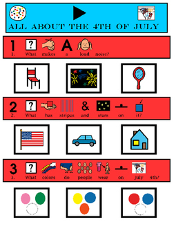 """4th of July """"WH"""" questions (Speech, Comp, Autism)"""