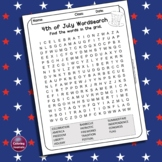 4th of July Word Search Puzzle, Independence Day Vocabulary - solution included