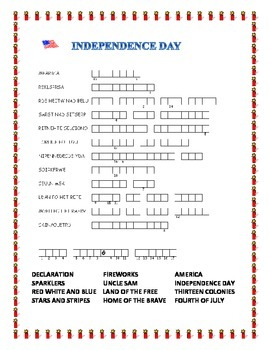 4th of July- Word Search and Double Puzzle with Hidden Message