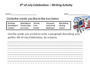 4th of July Writing Activity