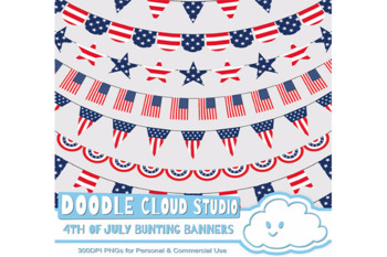 4th of July bunting banners celebration clipart, American flags, Patriotic.