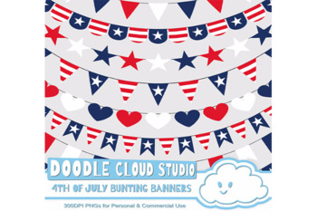 4th of July bunting banners clipart, patriotic flags, stars & stripes banners.