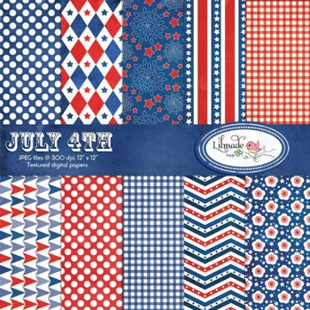 4th of July digital papers, Independence day scrapbook paper