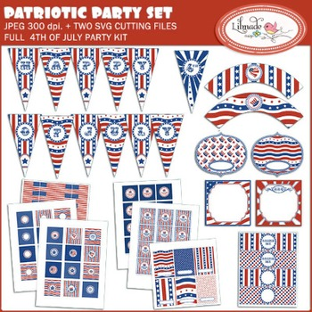 4th of July digital printable party decorations, DIY Indep