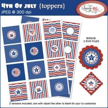 4th of July digital stickers, cupcake toppers, printable party decorations.