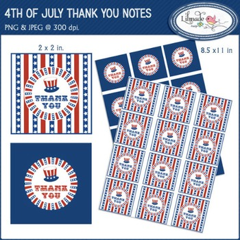 4th of July digital stickers, thank you cards, printable party decorations.