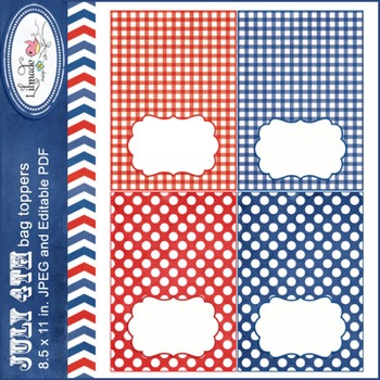 4th of July editable labels, bag toppers