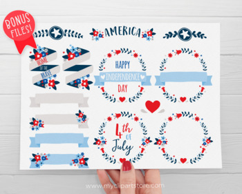 4th of July flowers, florals, Independence Day, USA, Summer, SVG