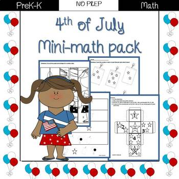 4th of July mini-math pack: Preschool/ PreK