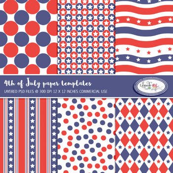 4th of July overlays, paper templates, PSD layered templates