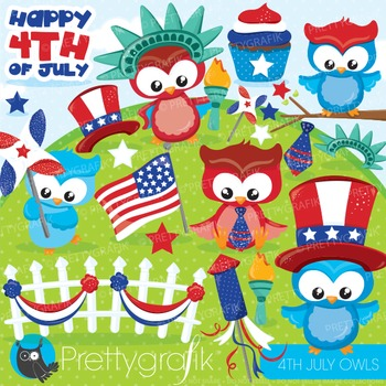 4th of July owls clipart commercial use, graphics, digital