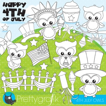 4th of July owls stamps commercial use, vector graphics, images - DS863