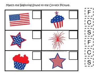 4th of July themed Match the Beginning Sound preschool educational game.